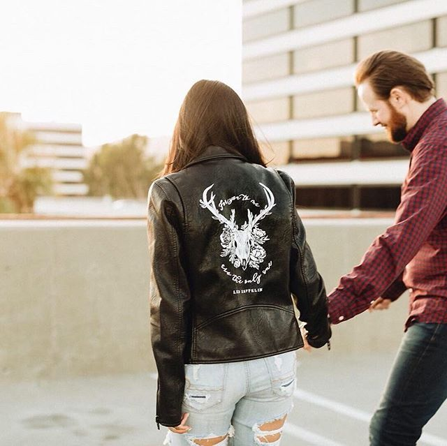 Lovely engagement photoshoot shot by @dakotasims ❈ featuring our hand painted jacket