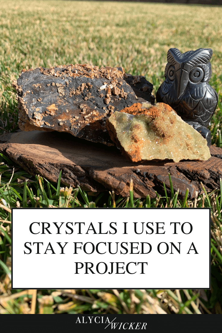 crystals and decorative owl, text: crystals for focus