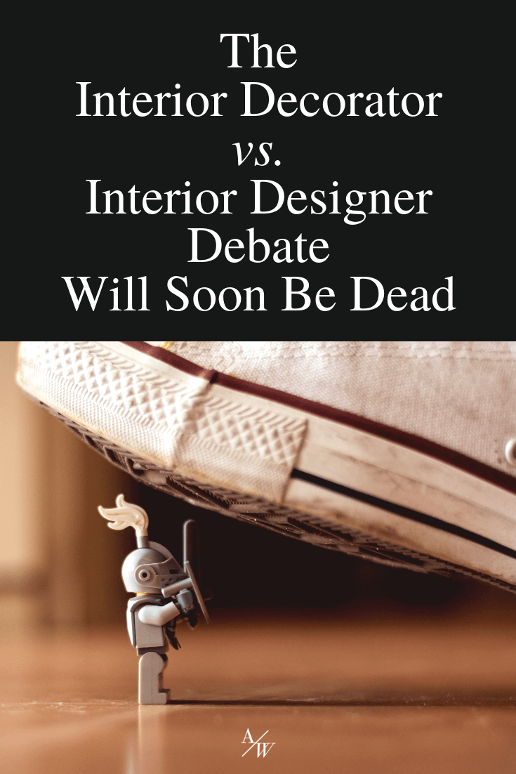 converse stepping on toy, text: interior designer vs interior decorator