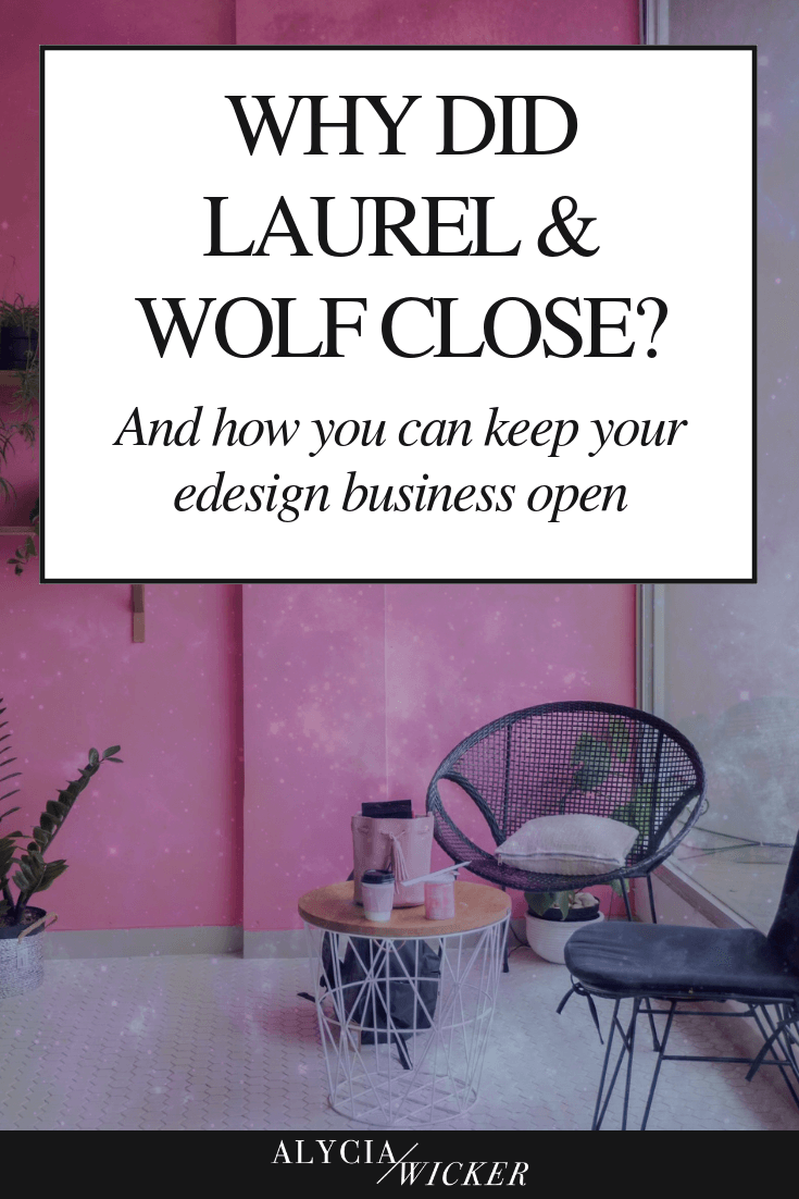 pink room with dark wicker chairs, text: why did laurel and wolf close