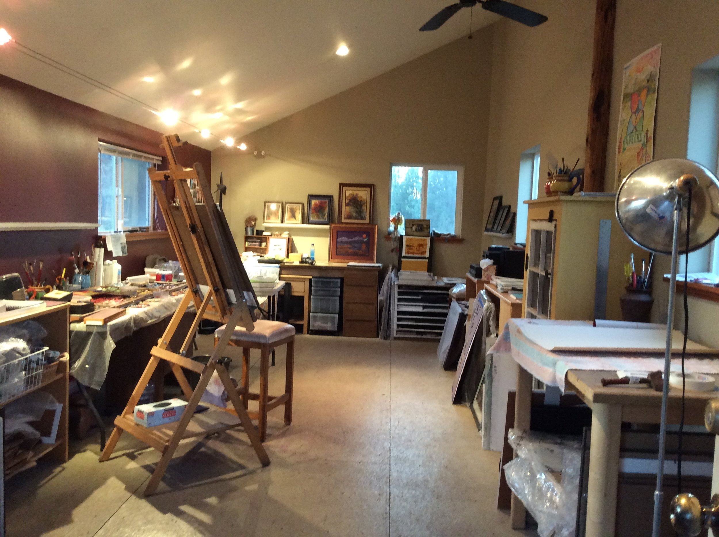 At my easel, in my upper room studio. Come and join me on July 29, 2017