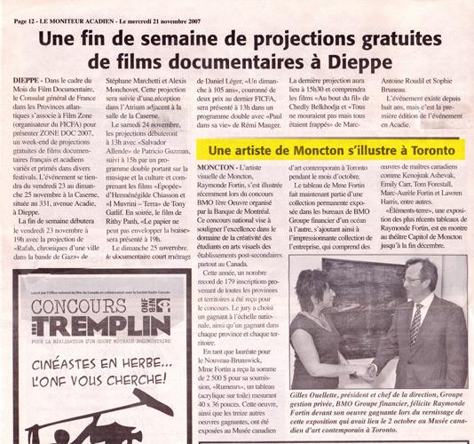 Octobre 2007, Prix BMO 1ère oeuvre