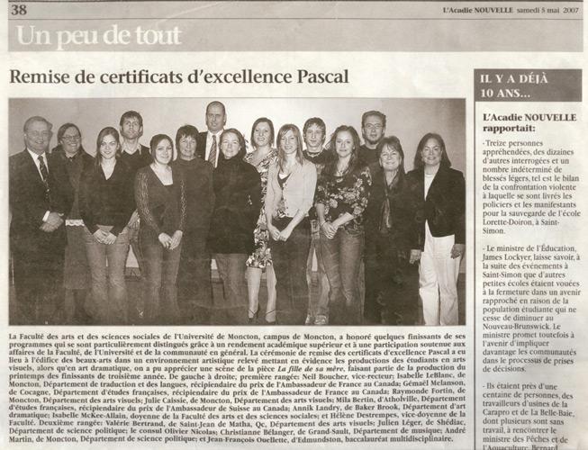 Mai 2007, certificat honorifique Pascal