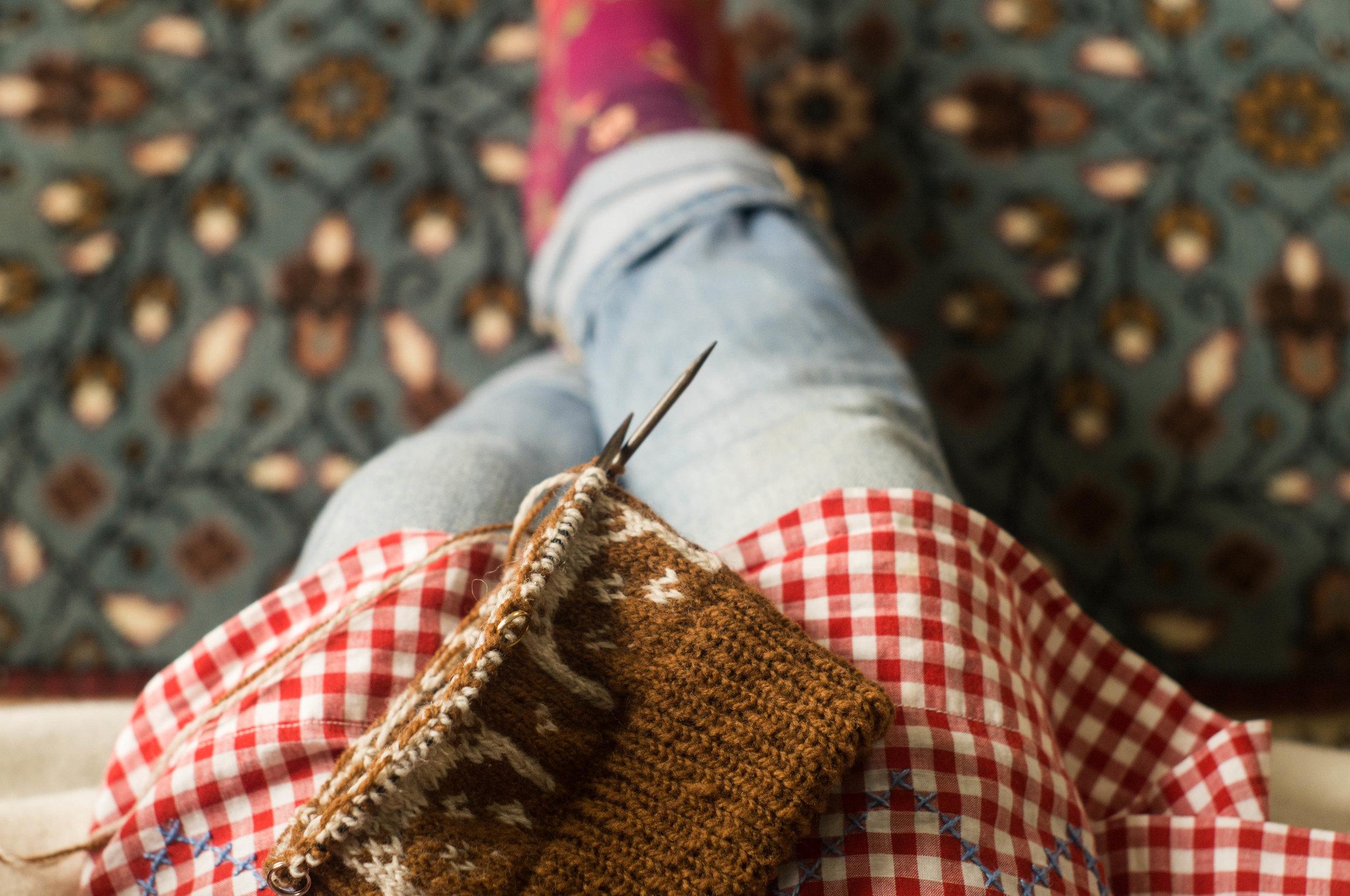 Knitting Wool Dala Horse Baby Hat by Samantha Spigos