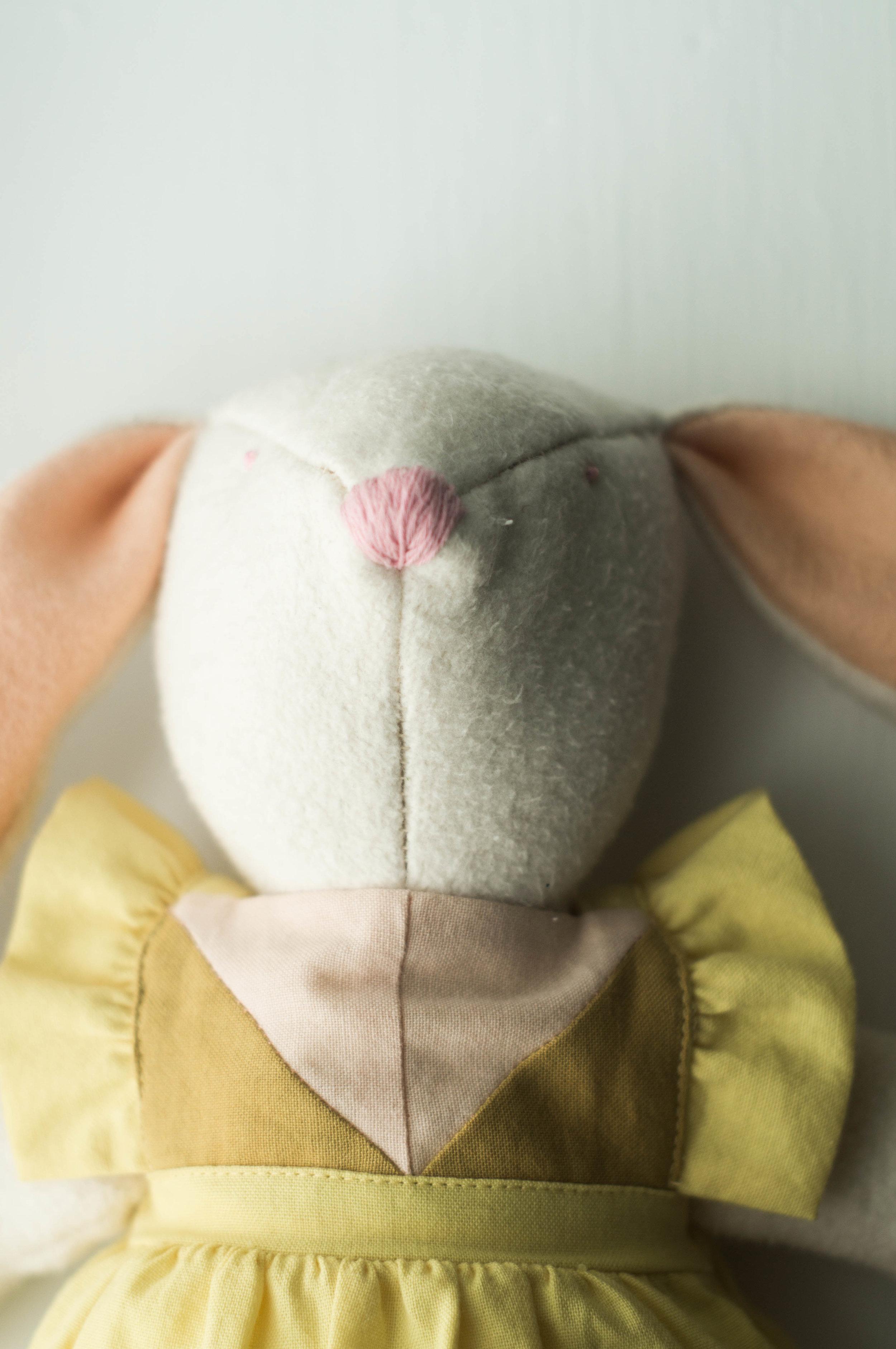 handsewn wool cotton bunny first birthday by samantha spigos