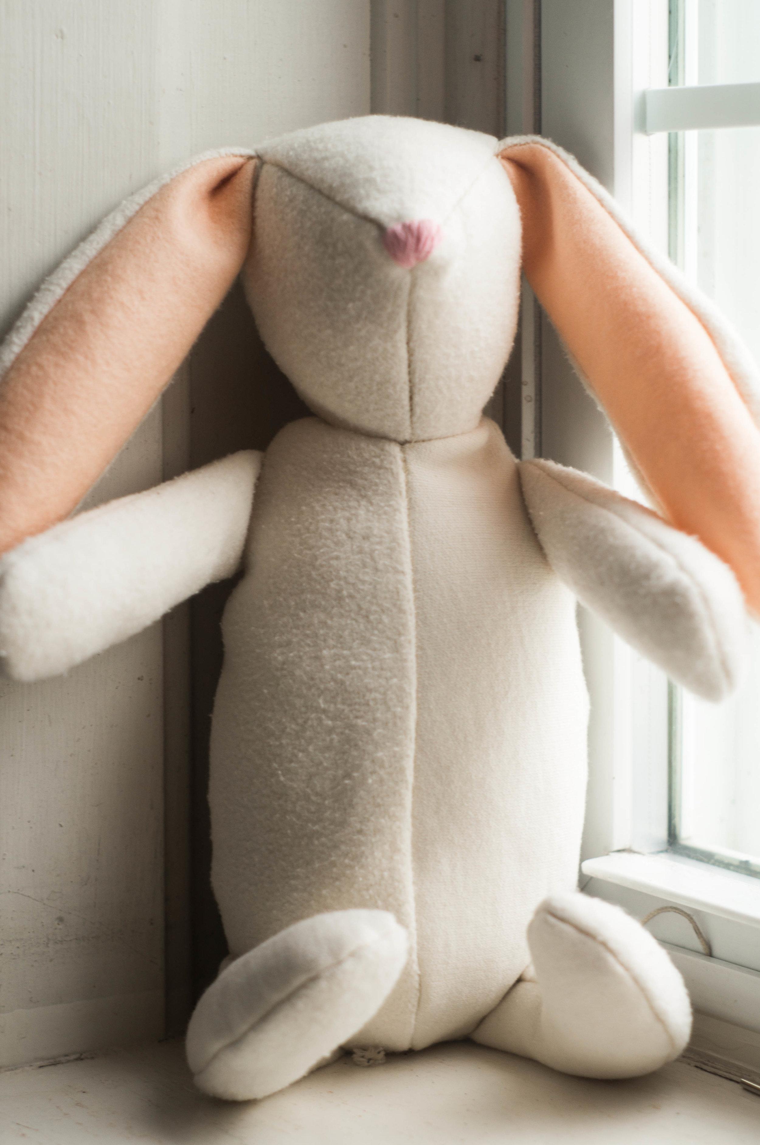 cotton wool handsewn bunny by samantha spigos
