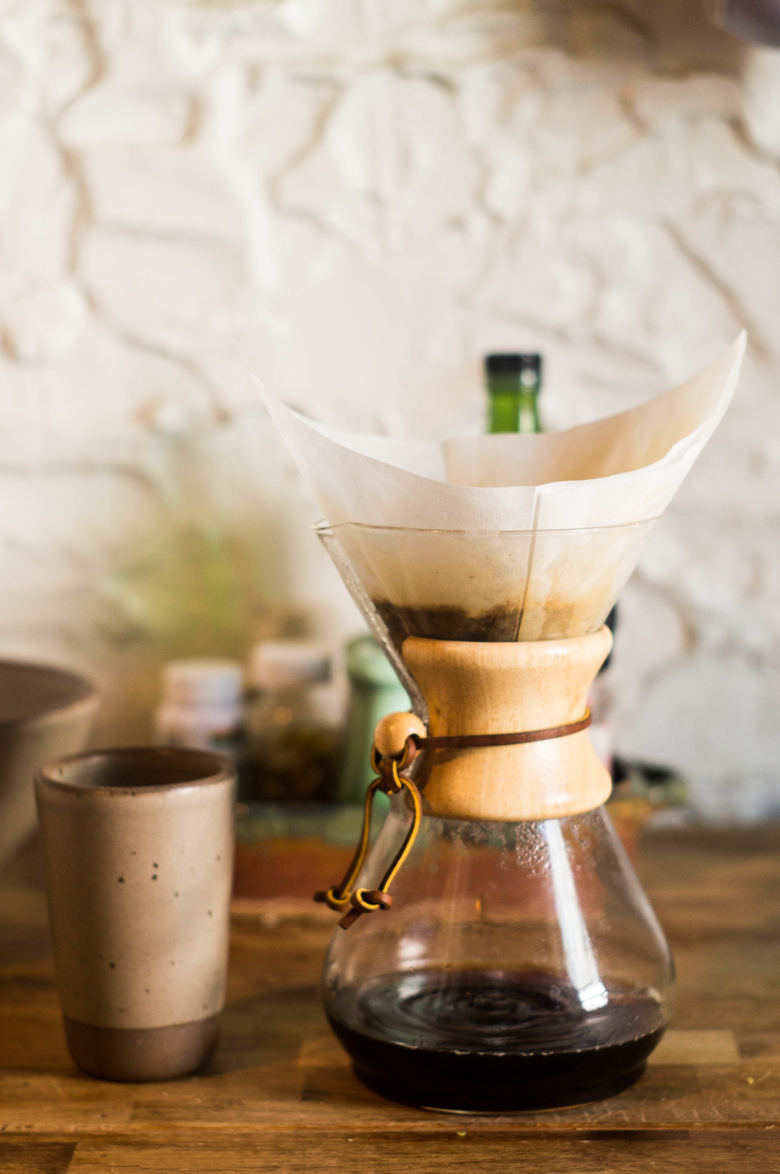 iced coffee pourover and stoneware cup by samantha spigos