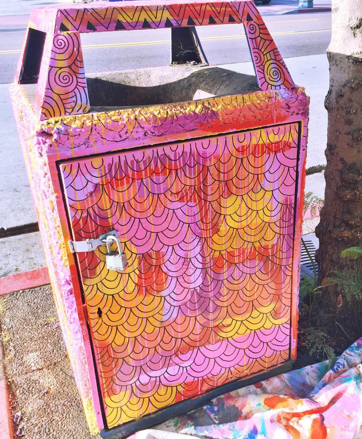 Trashcan for the Visual Public Art Project, City Heights, San Diego, 2015