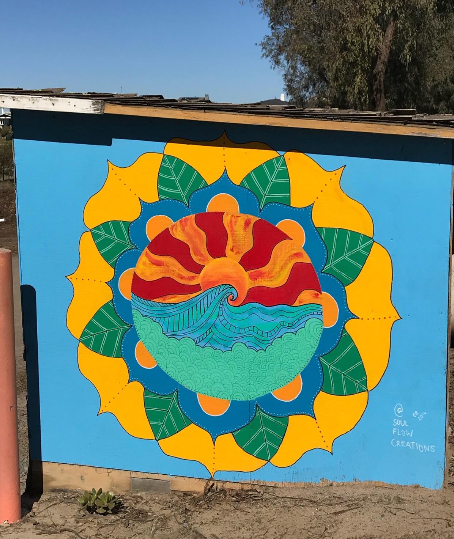 Mural at Coastal Roots Farm, Encinitas, San Diego, 2016
