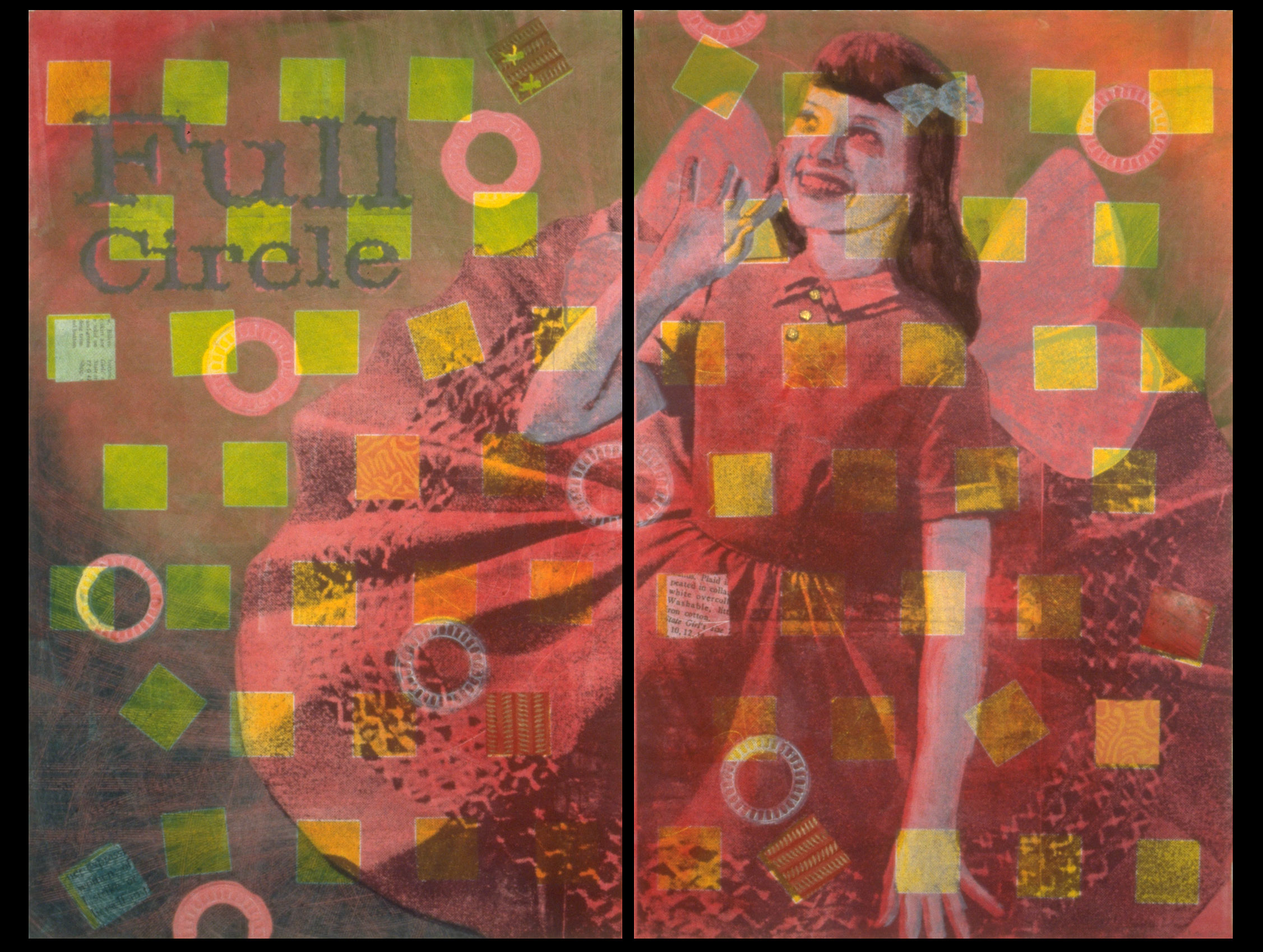 """Full Circle Diptych , Monoprint with Chine Colle, 30""""h x 40""""w, 2000"""