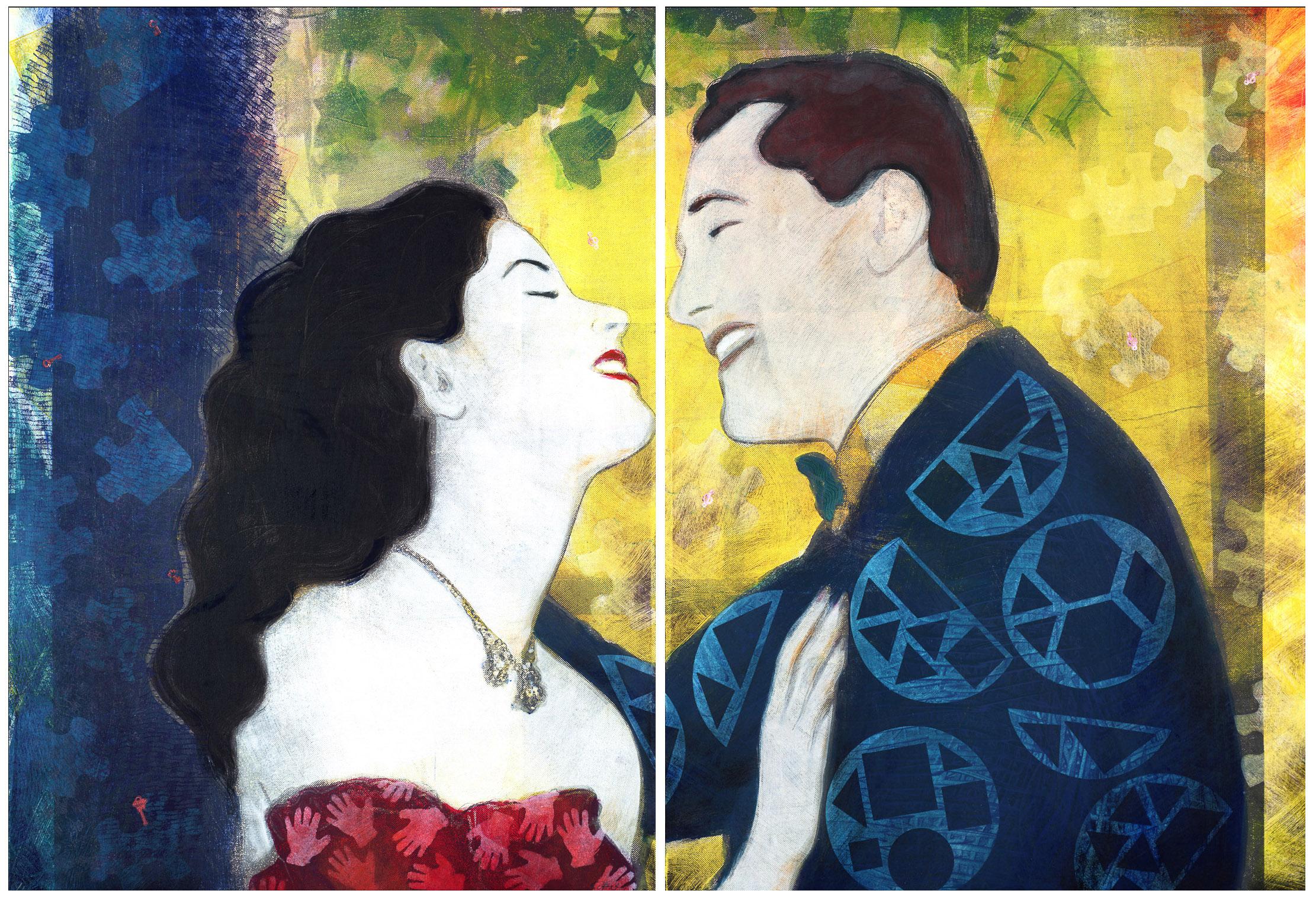 "Ecstatic Couple Diptych , Monoprint, 30""h x 45""w, 2005"