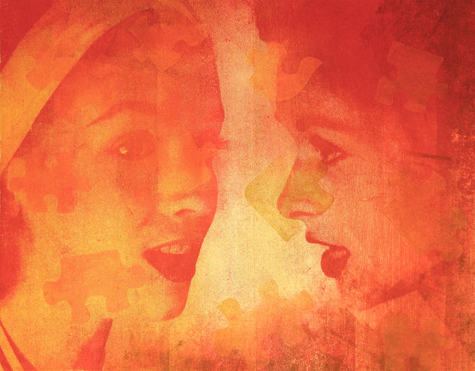 "Secrets & Gossip , Monoprint, 22""h x 30""w, 2009"