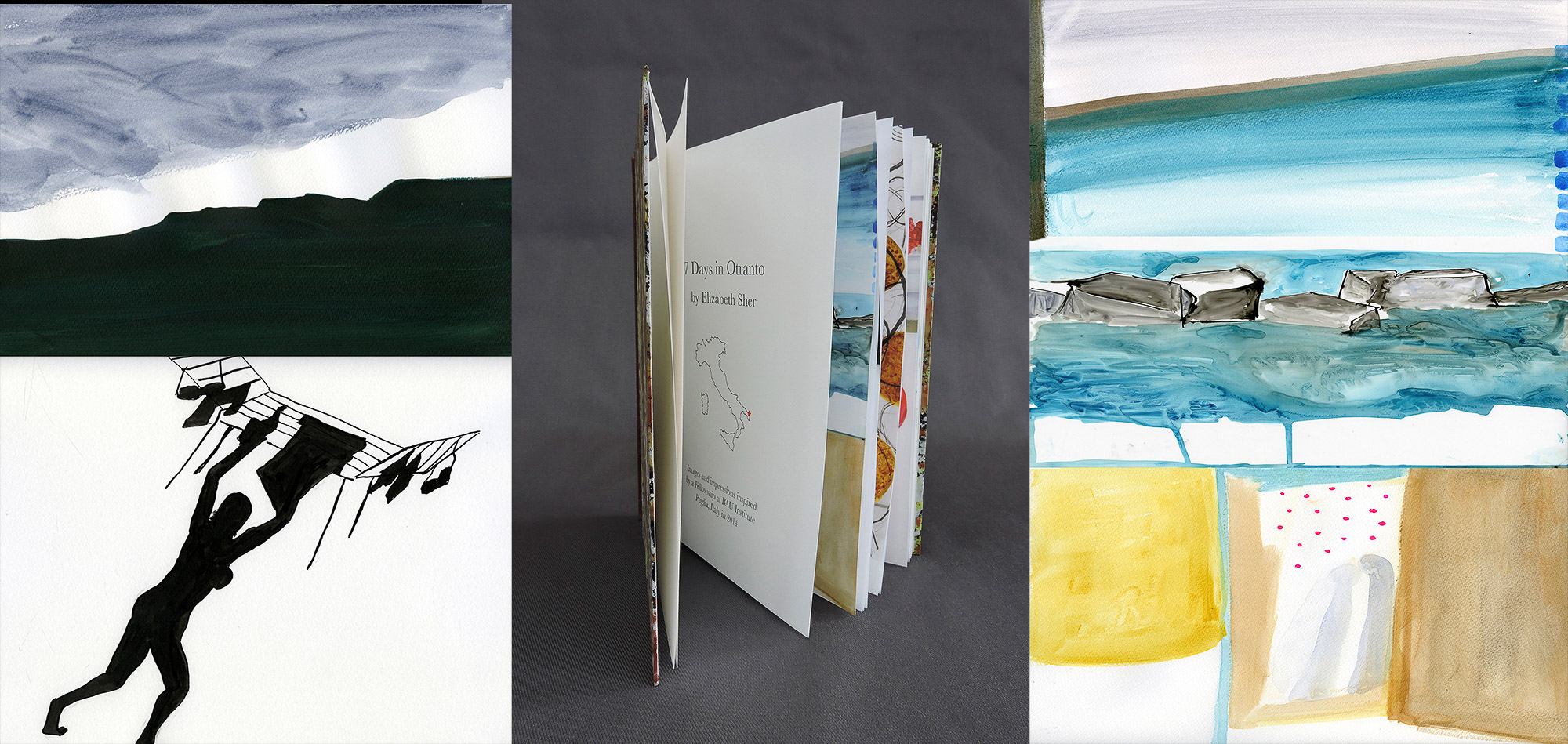 7 Days in Otranto  , artist's book, marble paper cover with leather bindin