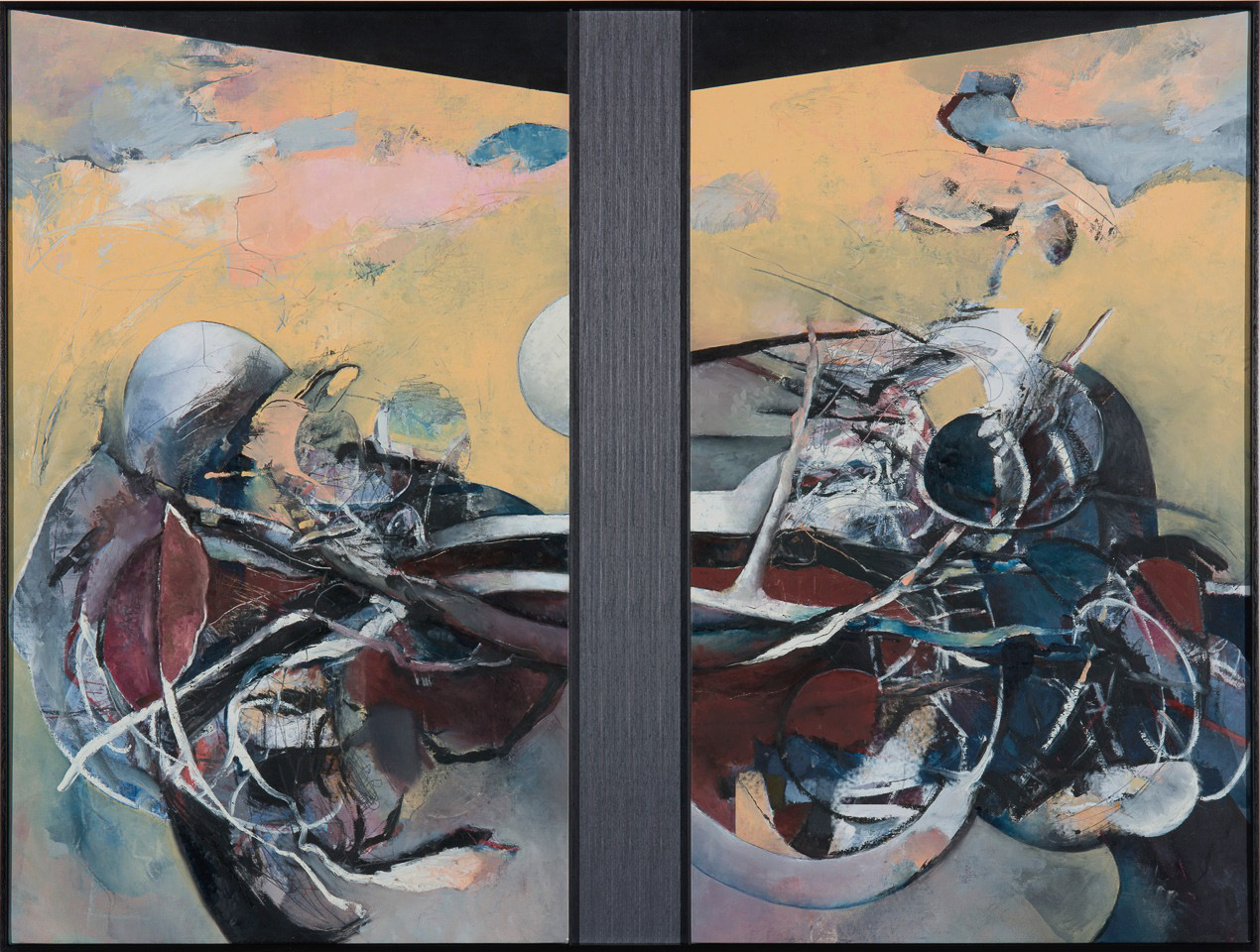 """Gray Matters 2: Crucifixion    Oil on canvas with recessed wood panel  44"""" x 59"""""""