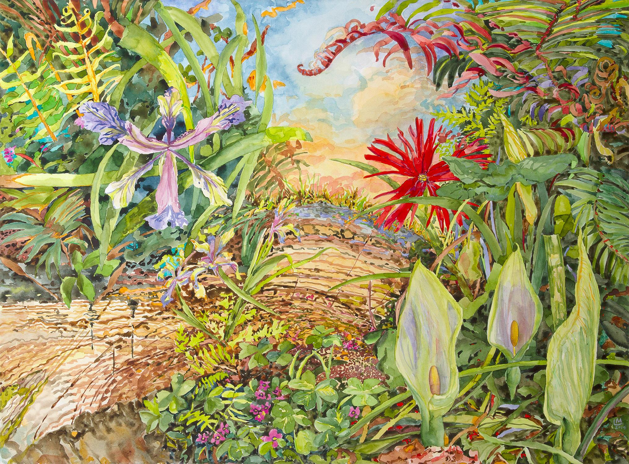 """Arum Trilogy  Watercolor, 22""""h x 30""""w, 2014"""