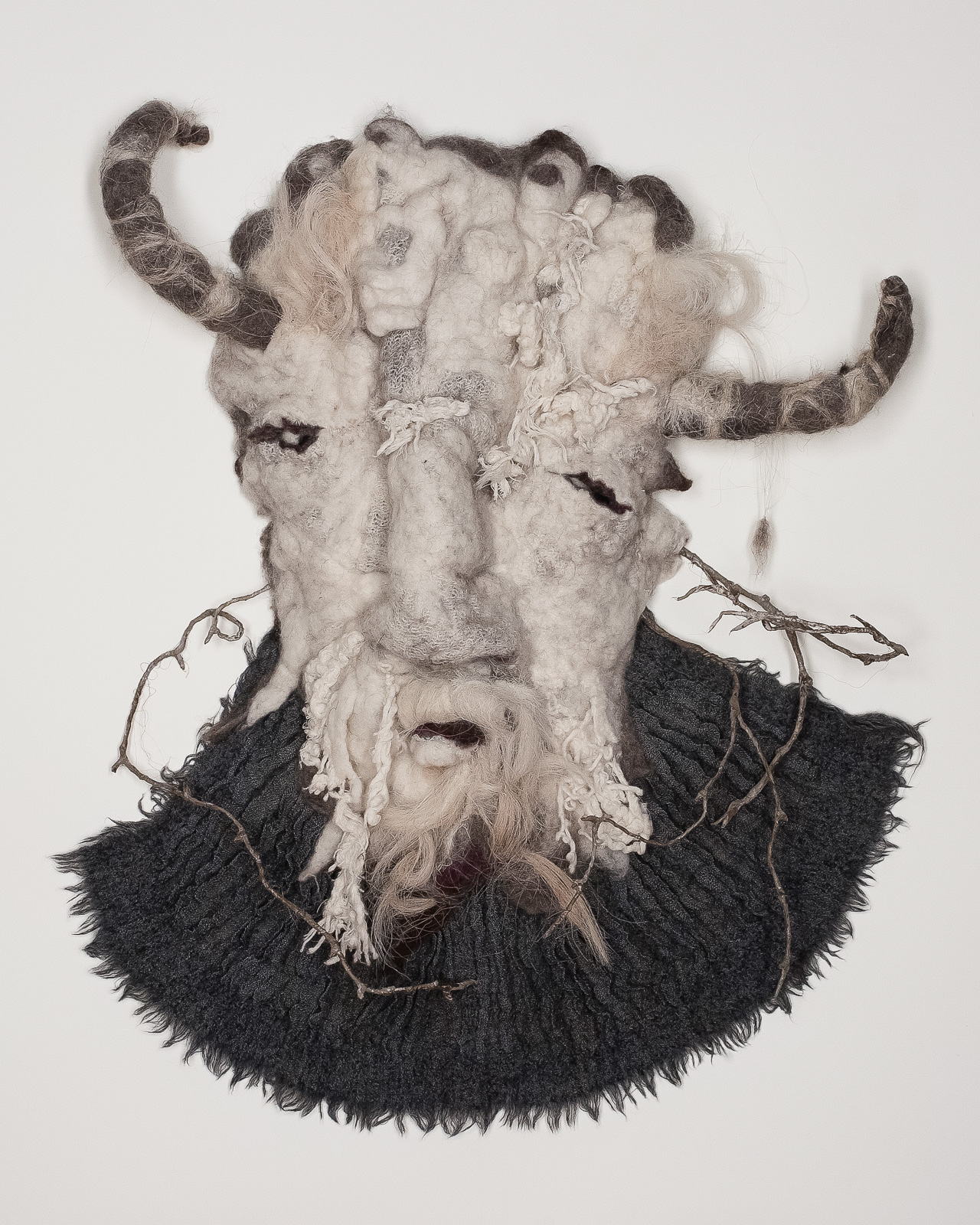 Goat Mask: Guardian to the Afterlife  2015 Wool felt, goat hair, silk, wire.