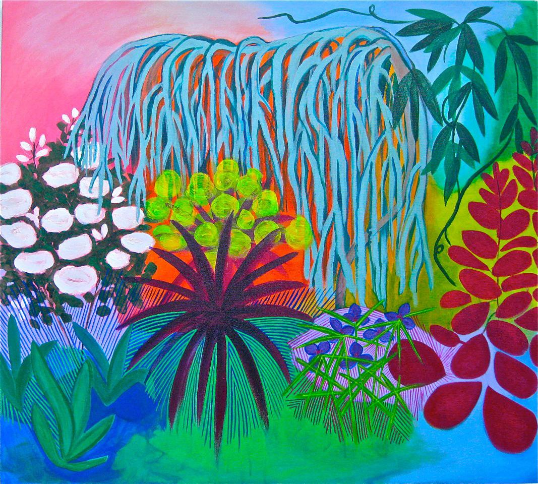 "Backyard Garden  , 2014, Acrylic and Flasche on canvas, 40"" x 36"""
