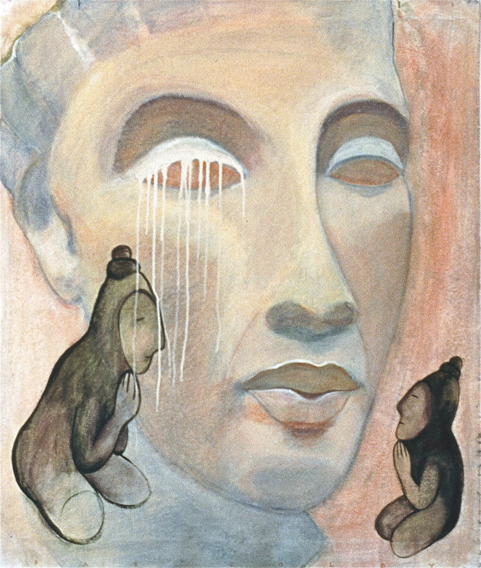 """Listening , 1997, Acrylic on unstretched canvas, 34"""" x 39"""""""