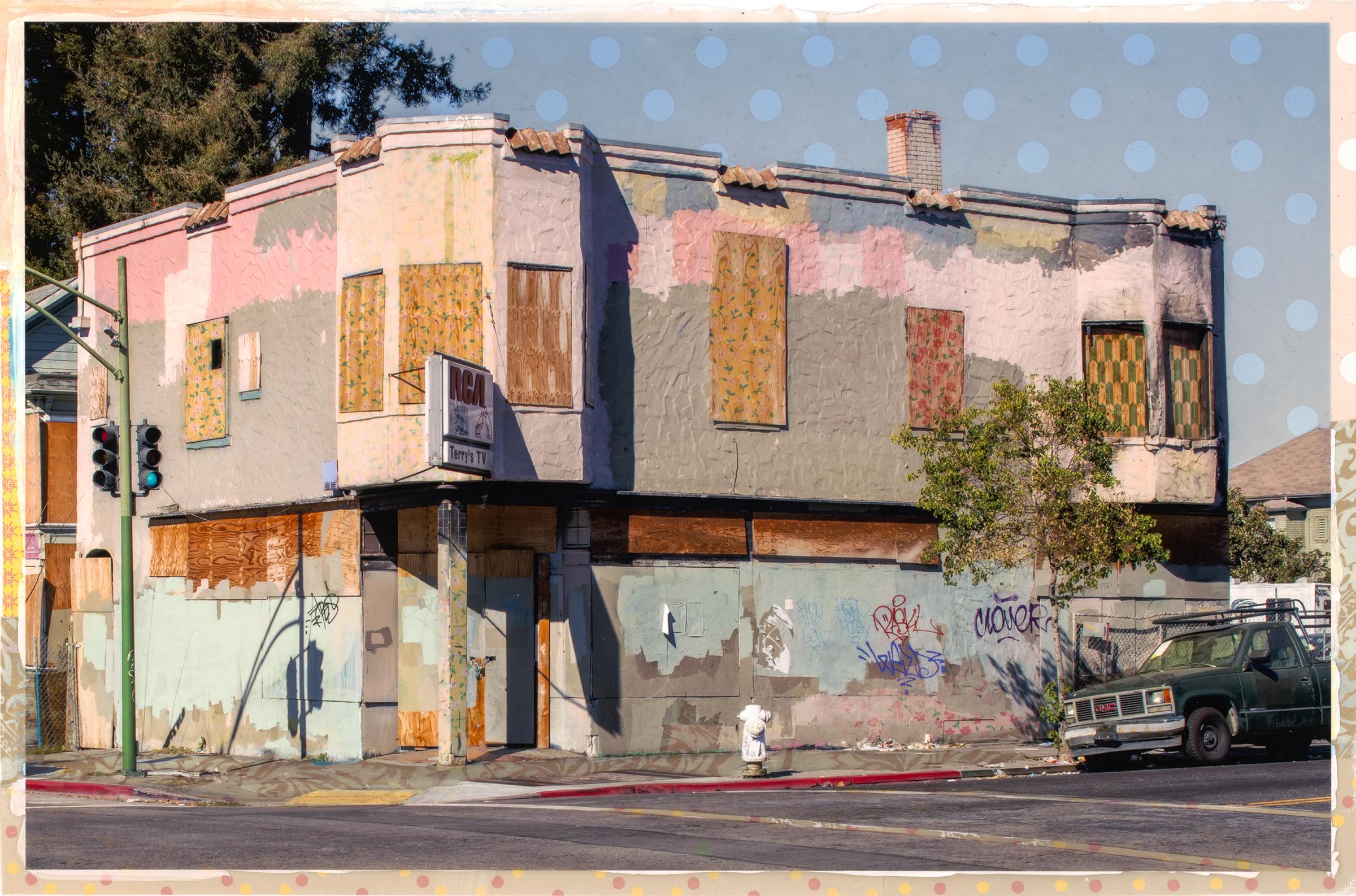 "MacArthur Mayhem  Painted film over chalk pastel 32"" x 44 "" Jeannie O'Connor © 2016"