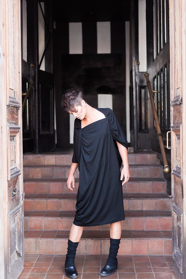 MU Winter collection at GUILD   this March only.   Pictured: 'Rea' Dress, black, merino