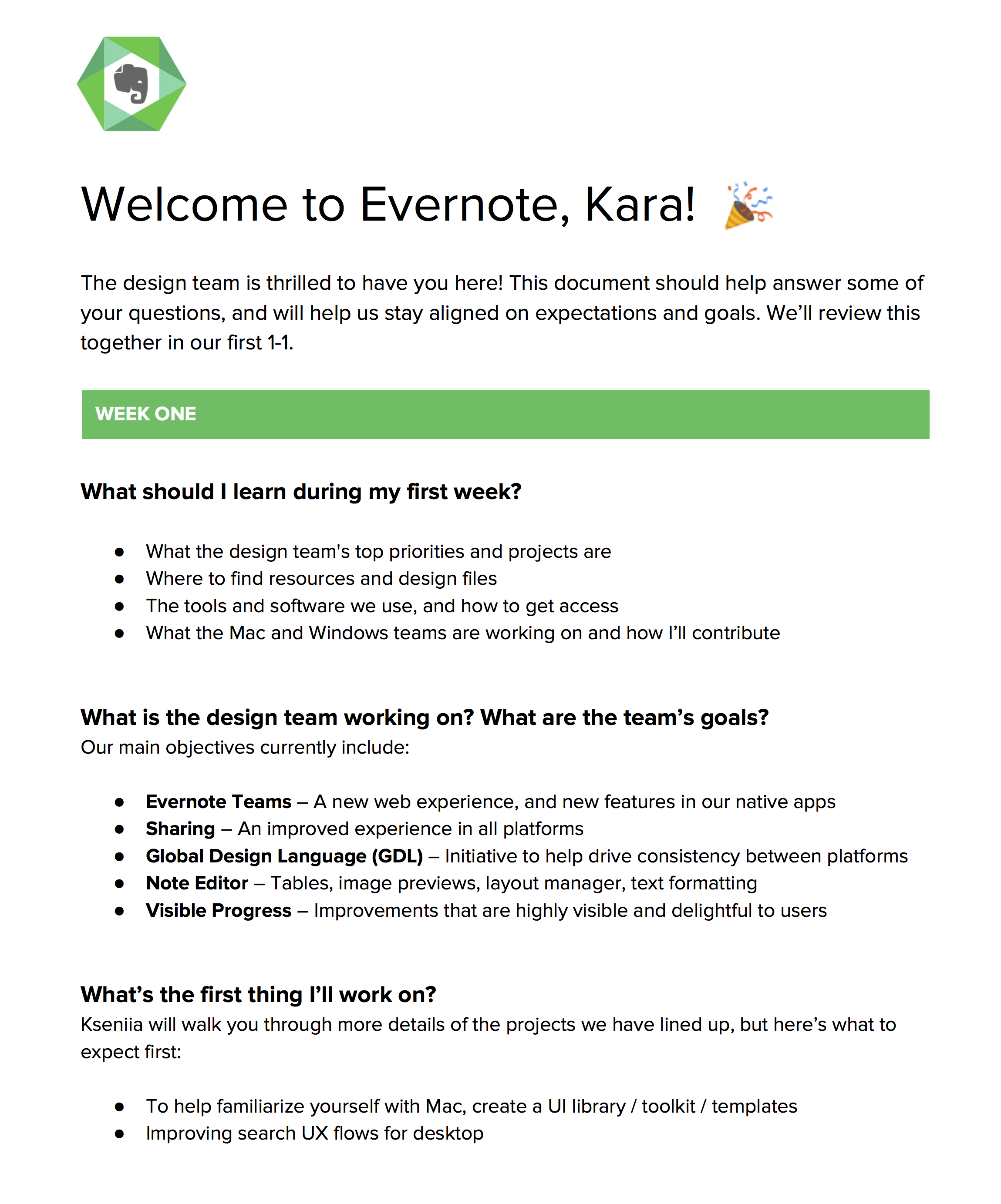 One page from the new designer welcome kit