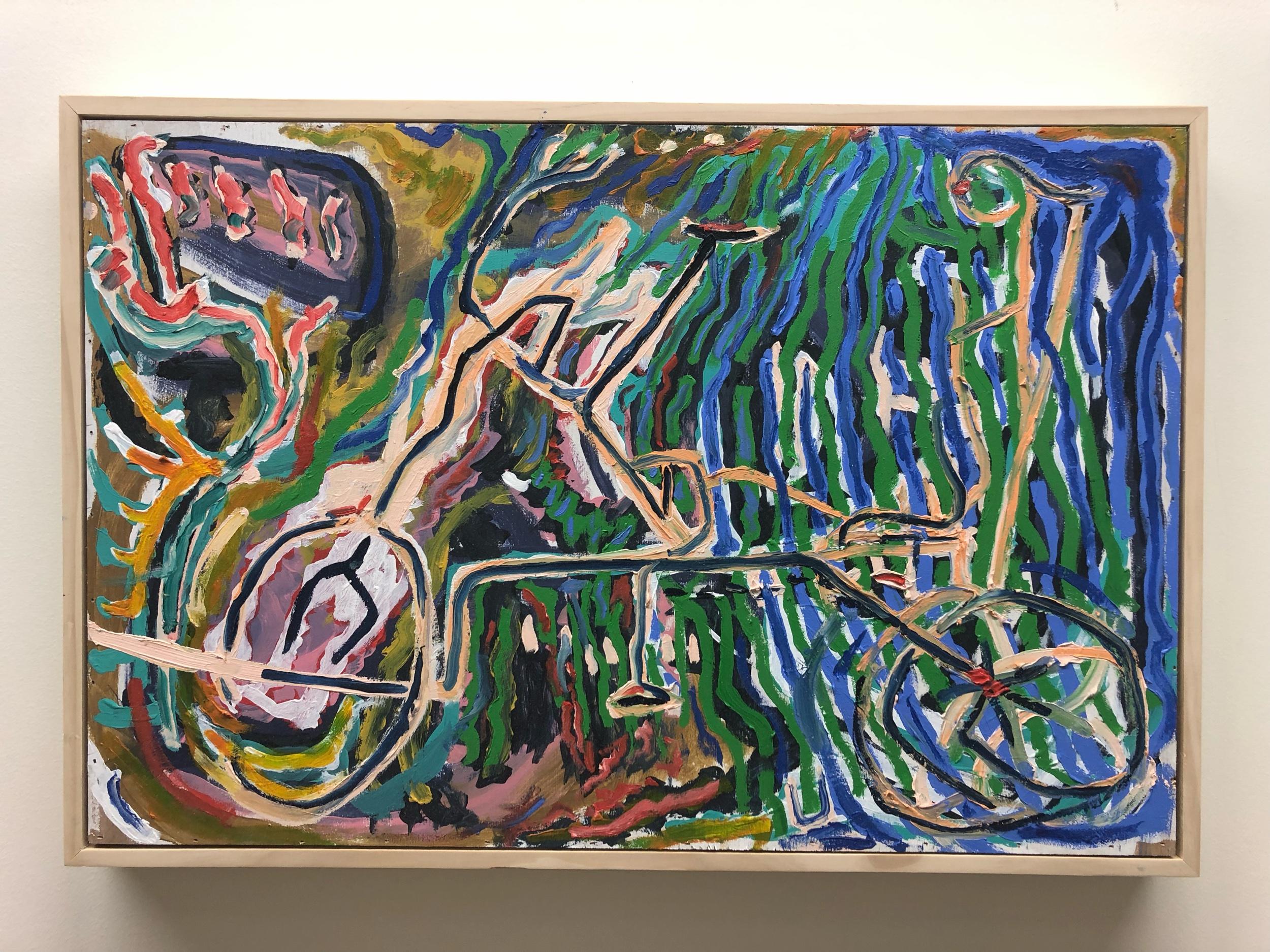 "Ride. Acrylic, oil on panel  25""x15"""