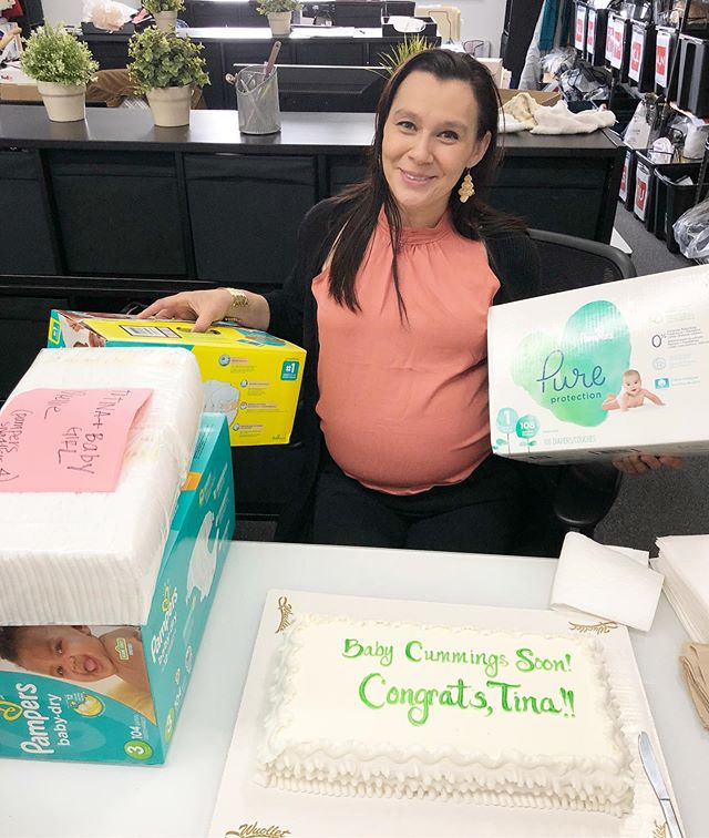 It's Tina's last week in the office so we celebrated mama and baby with a diaper drive and cake. Tina, you are going to be missed but we can't wait to meet your little girl. #officefamily