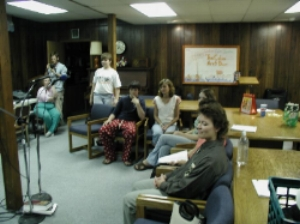 The cast of 'The Cabin Next Door', the Icebox Radio Theater's first play waits for the broadcast cue in July of 2004