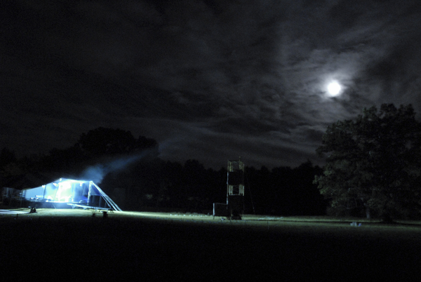 K.C. testing the Night Stage lights under a full moon. 2006.