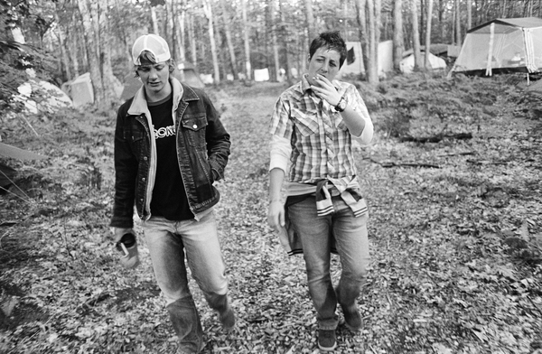 Bros walking in Festieland: Andy and Dug. 2004.
