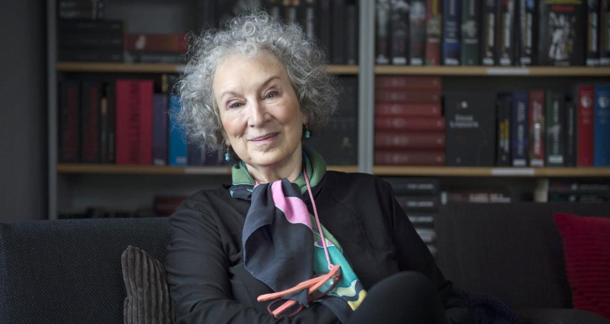 A LitHub shot of MA, from MARGARET ATWOOD ON WHAT IT'S LIKE TO WATCH HER OWN DYSTOPIA COME TRUE