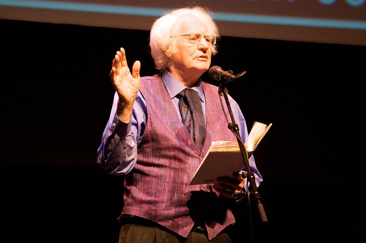 Robert Bly at the Poetry Out Loud Minnesota Finals at the FItzgerald Theater. 2009. Photo by Nic McPhee.