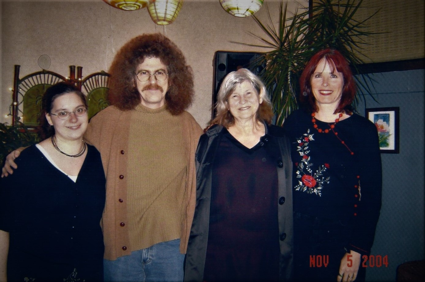 Left to right: Heather Grady (friend), George Kalamaras, Judith Johnson, and Mary Ann Cain (George's wife), following a reading that Judy and Mary Ann gave at the Three Rivers Food Co-op, Fort Wayne, Indiana, November, 2004.