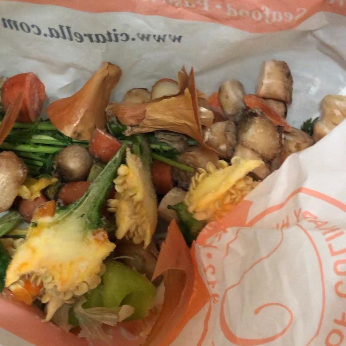 My bag full of frozen food scraps!