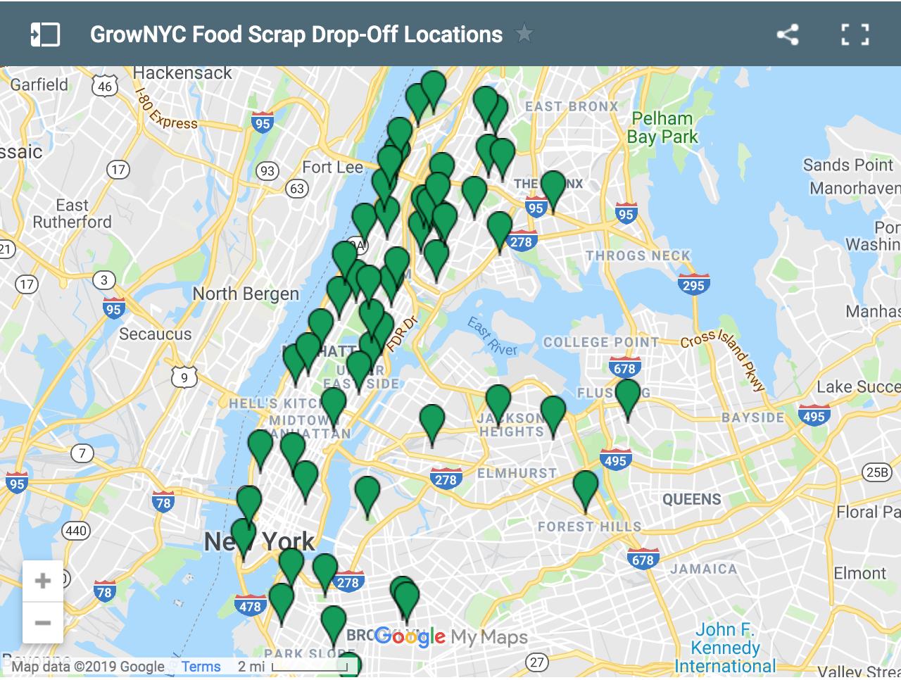 Map of GrowNYC locations in Manhattan & Brooklyn.
