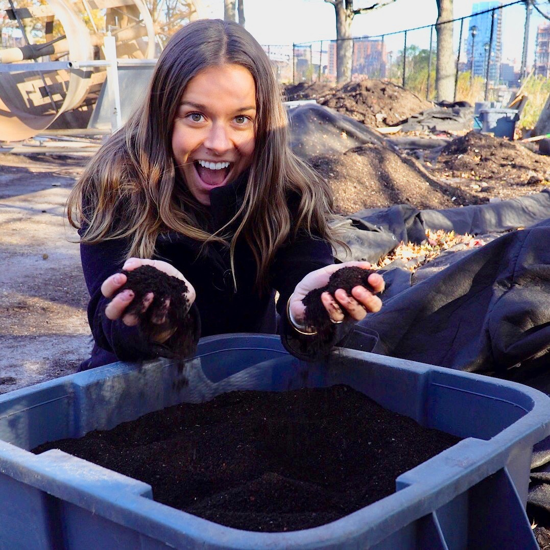 Holding the final composting product at the Lower East Side Ecology Center! COMPOSTING IS SO COOL!