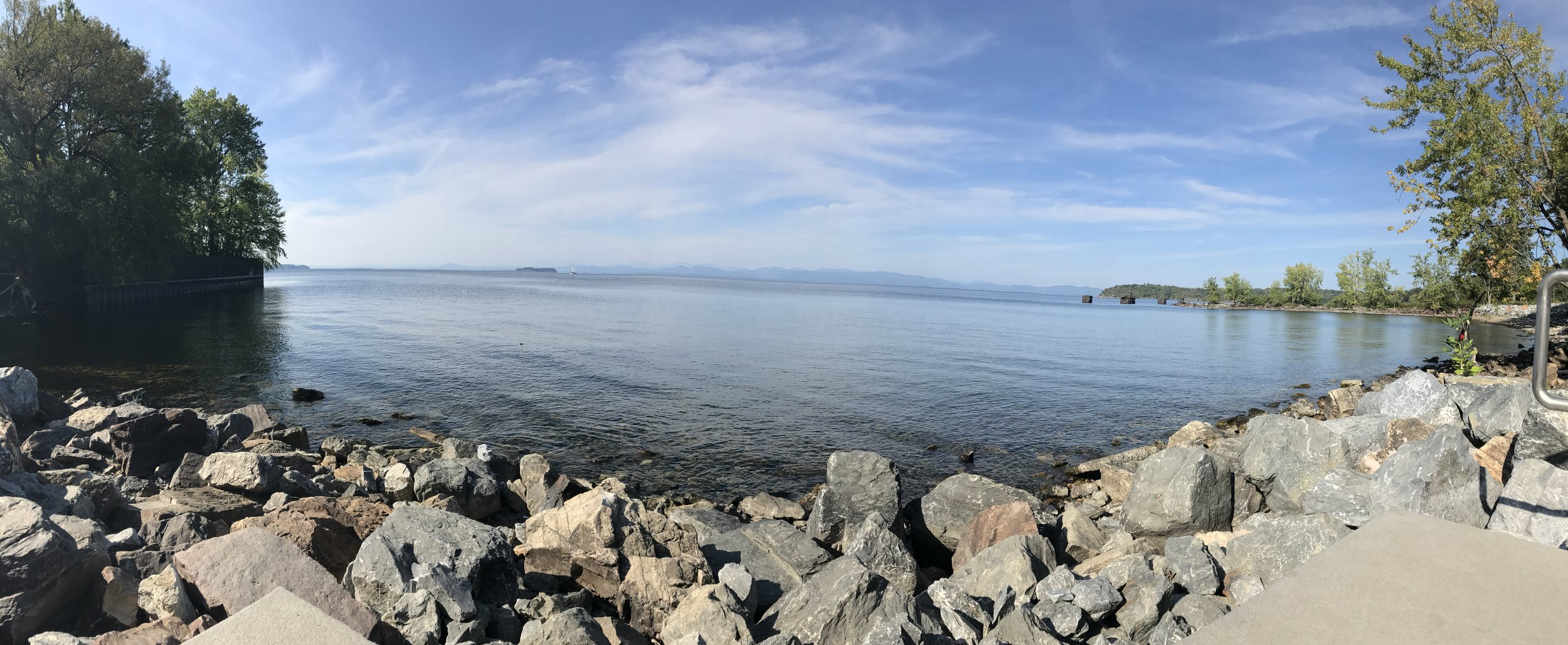 Lake Champlain from the Burlington bike path. A place I enjoy walking to and meditating at.