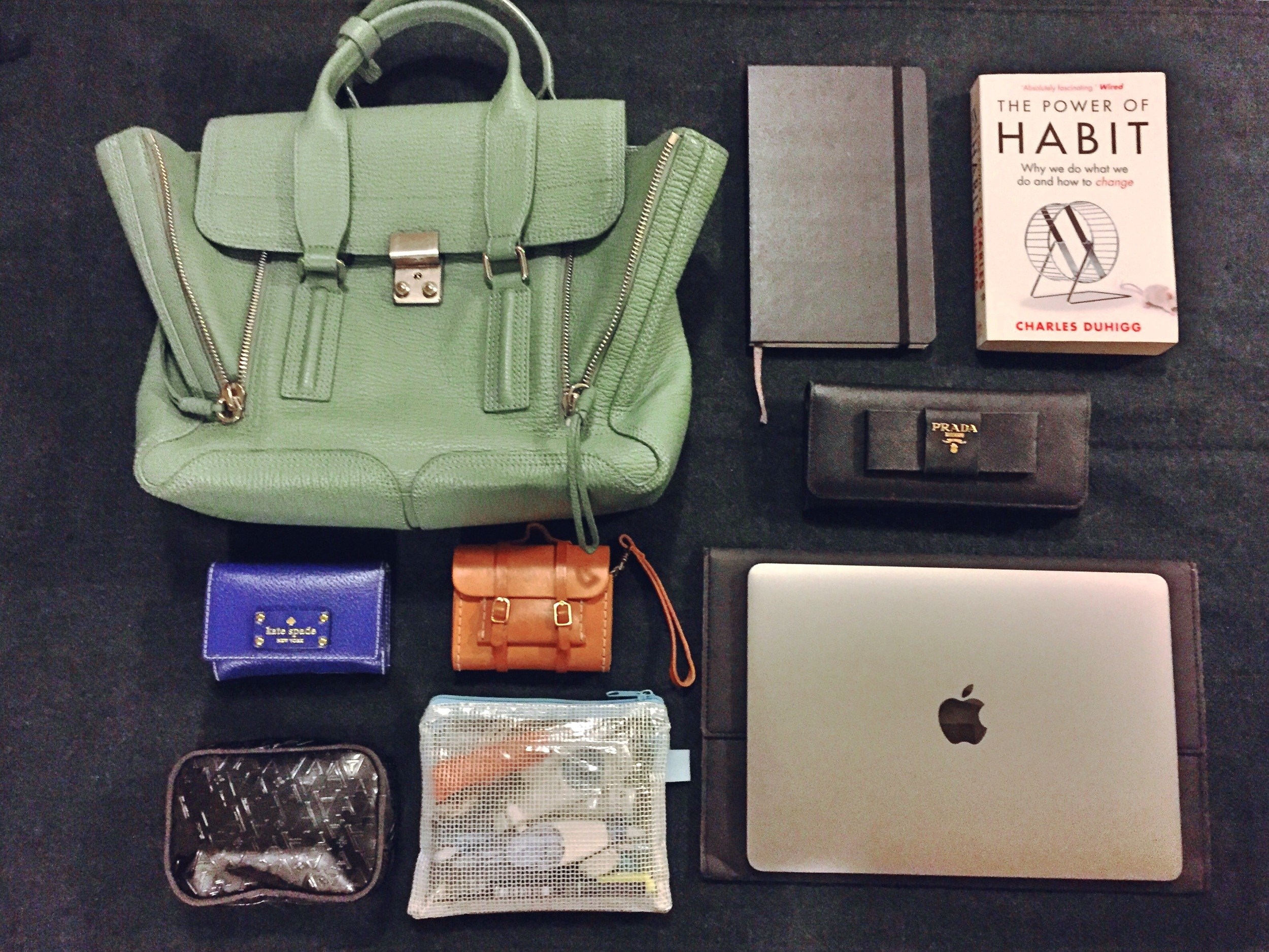 "3.1 Phillip Lim   Agave pashli medium satchel//  Moleskine  18 month planner//  The Power of Habit  by Charles Duhigg//  Prada  Black saffiano wallet//  Kate Spade  Card holder//  REISEN  Xiaomi power bank case from  Kogosei //  Anteprima  Cosmetic pouch// Transparent pencil case//  Apple  12"" macbook in space grey"