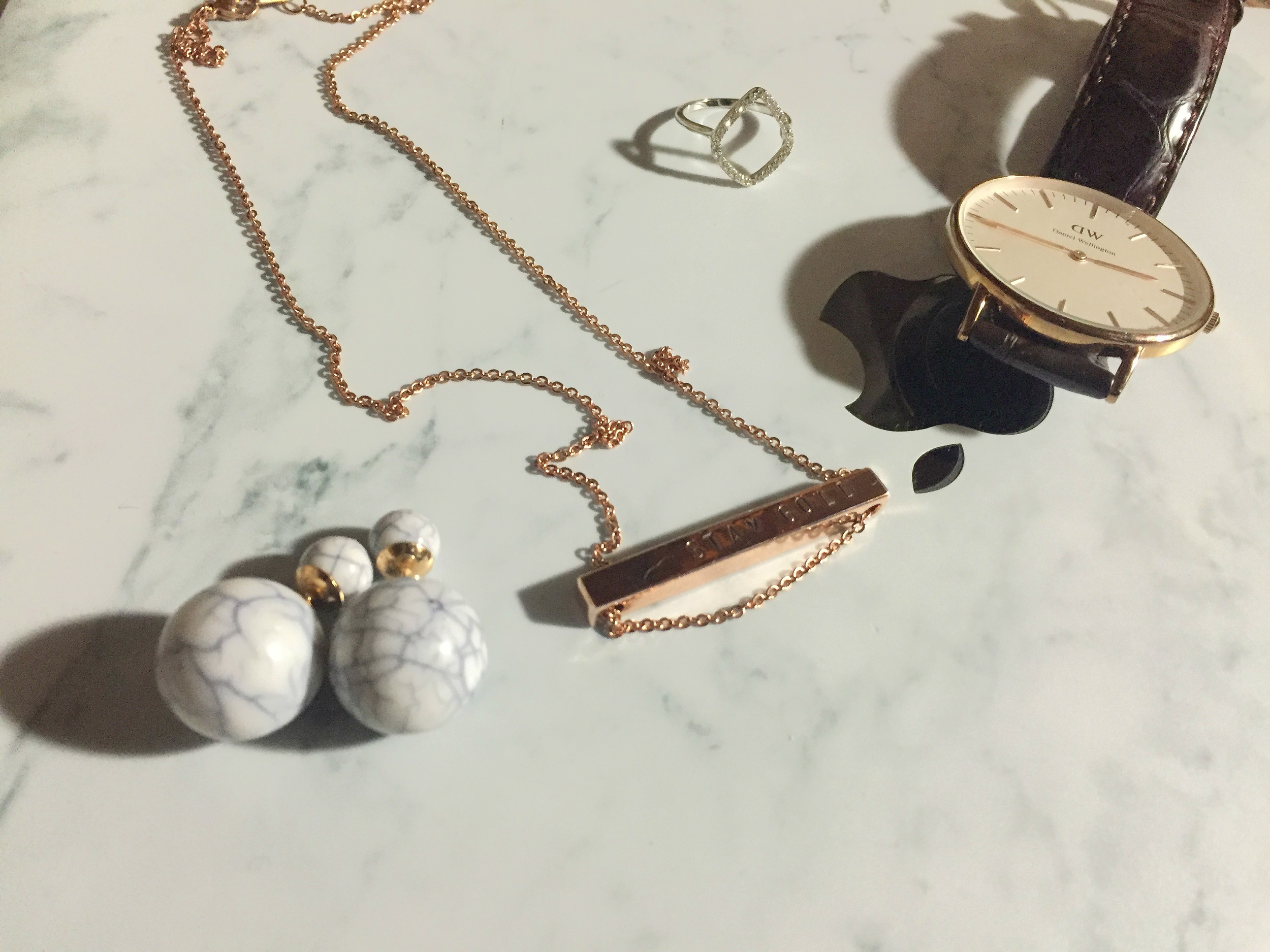 Accessories of the Day!   Little Smith Standard Bar Necklace / ThpShop Marble Double Back Earrings /  Monica Vinader Riva Diamond Hoop Ring /  Daniel Wellington Classic York 36mm in Rose Gold