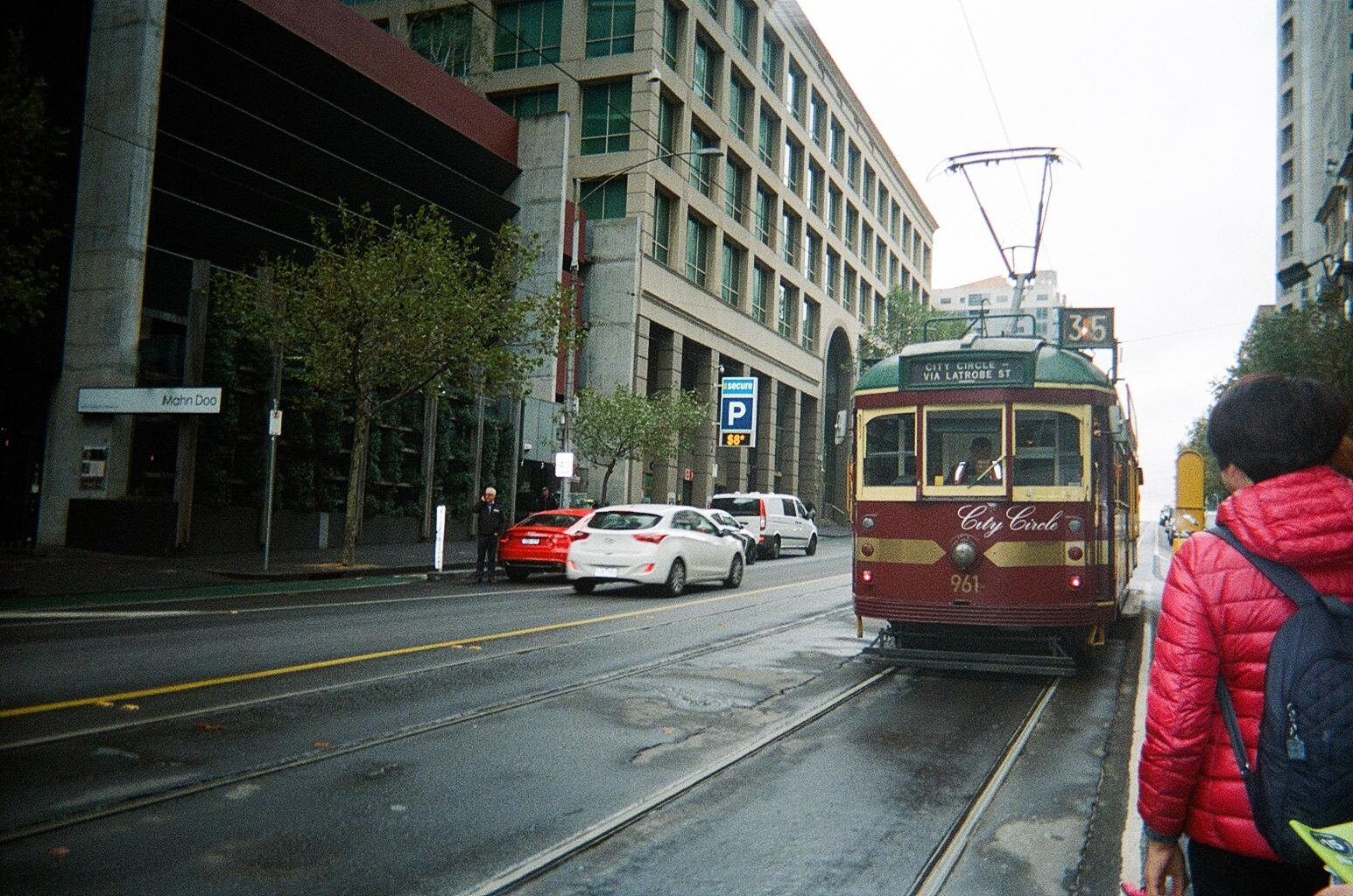 An 'old-school' tram in Melbourne