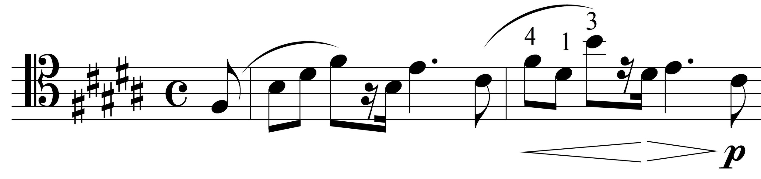 (mm. 4-5 feature a shift up to a high B)