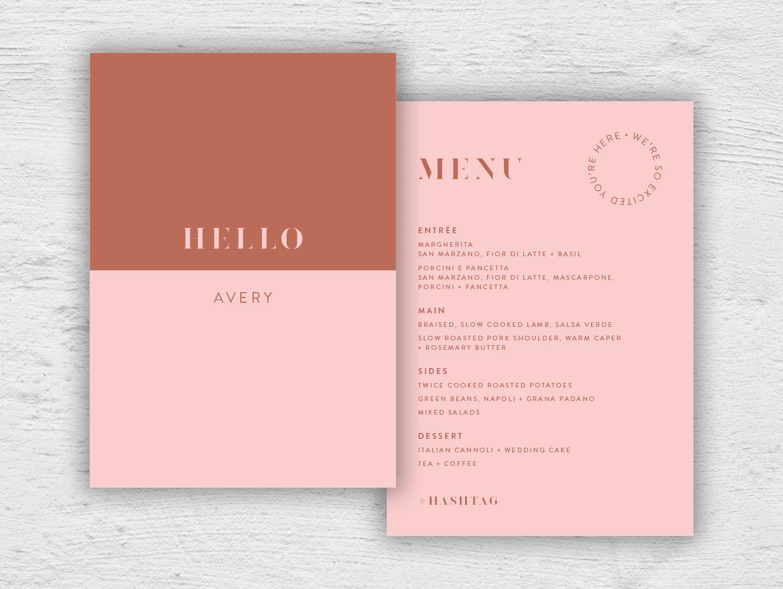 Personalised menu A5