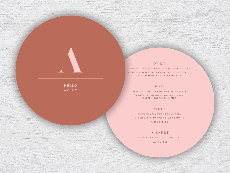 Personalised menu round