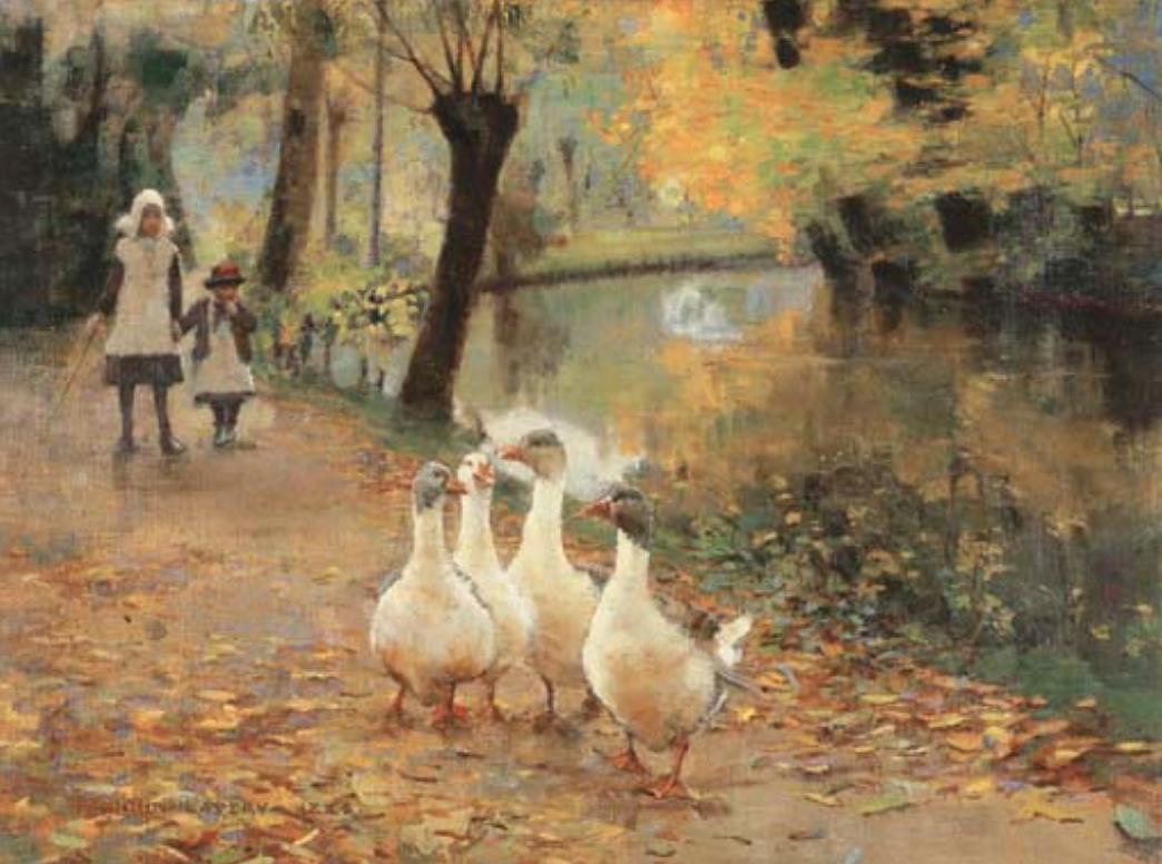 - Sir John Lavery, R.A. (Belfast 1856–1941 Kilmoganny)The Goose Girls
