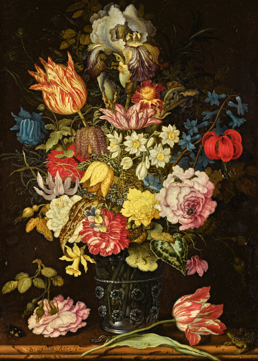 - Balthasar van der Ast (Middelburg 1593/94-1657 Delft)Still Life of Flowers in a Glass Beaker on a Stone Ledge, Together with Insects and a Lizard