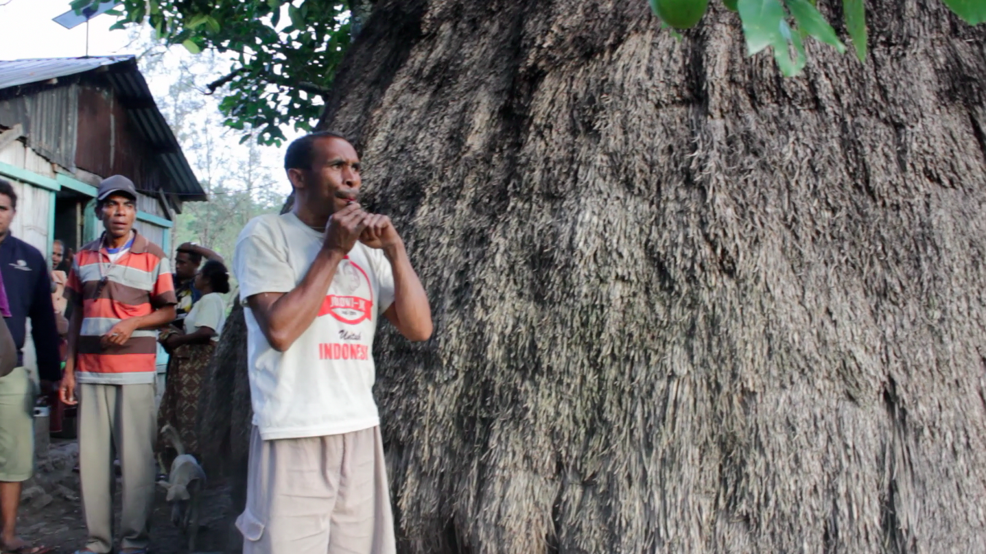 A bidu musician calls his dog from the fields in Miomafo.
