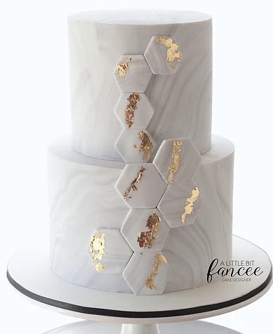 Marble & Gold hexagons Cake by A Little Bit Fancee