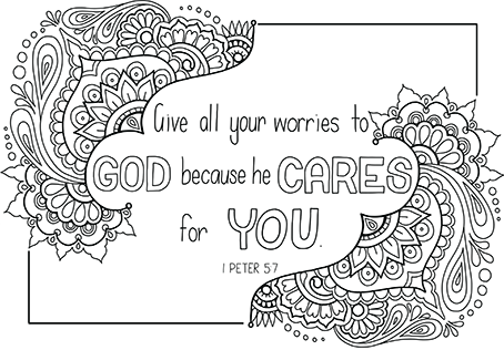 He Cares For You Bible Colouring design download