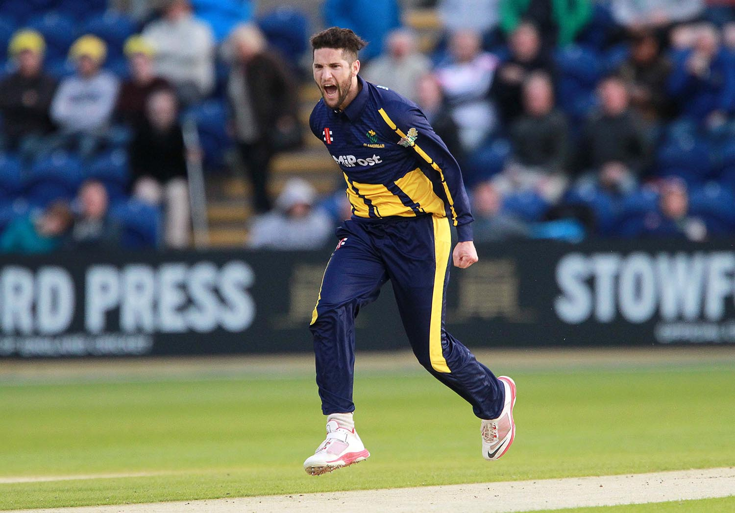 Wayne Parnell of Glamorgan celebrates a wicket