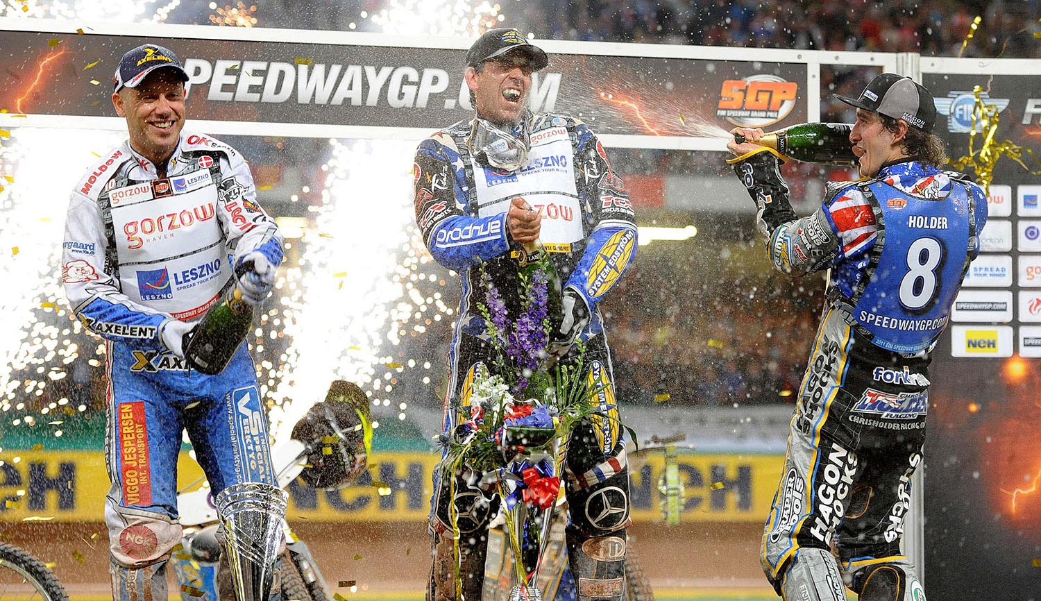 Greg Hancock celebrates winning the 2011 British Speedway Grand Prix